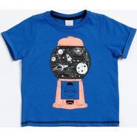 Camiseta Infantil Manga Curta Estampa Espaço Marisa