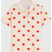 Camisa Polo Lacoste Kids Infantil Poã¡ Bege - Bege - Menina - Algodã£O - Dafiti