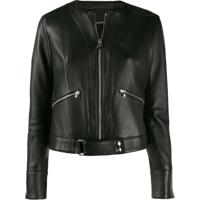 Philipp Plein Zipped Biker Jacket - Preto