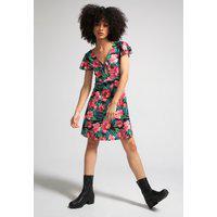 Vestido Fiveblu Curto Amarração Floral Preto/Rosa