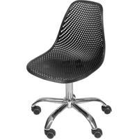 Cadeira Eames Furadinha Cor Preto Com Base Rodizio - 54707 - Sun House