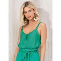 Blusa De Alça Em Plano Viscose Sarjada Verde