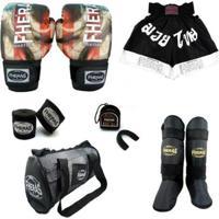 Kit Boxe Muay Thai Fheras Top - Luva Bandagem Bucal Caneleira Bolsa Shorts - Unissex