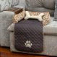 Protetor Sofá Pet Cachorro Ou Gato Tabaco Impermeável 45Cm X 88Cm X 15Cm + Almofada Ossinho