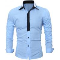 64ee7432ecfd8 Camisa Social Masculina Slim Fit Manga Longa - Azul Claro