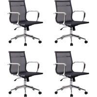 Conjunto Com 4 Cadeiras De Escritório Diretor Giratórias Eames Star Preto