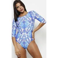 Body Floral Decote Posterior - Azul & Branco - Patrapatra