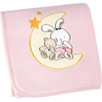 Manta Fleece Bordada Bebê Mini 82 Cm X 82 Cm Com 1 Peça - Produto Importado Lepper Rosa