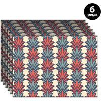 Jogo Americano Mdecore Ornamental 40X28Cm Colorido 6Pçs