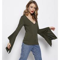 Blusa Lisa Com Recorte & Tag- Verde Escuro- Forumforum