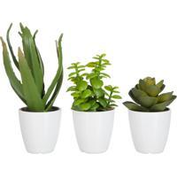 Cachepot Udecor Com Planta Verde - Jogo Com 3 Peças