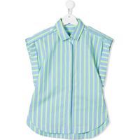 Alberta Ferretti Kids Camisa Epaulette - Azul