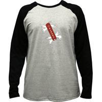 Camiseta Alkary Raglan Manga Longa Canivete Suiço Mescla E Preta