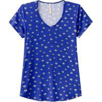 Blusa Estampada Viscose Decote V Azul