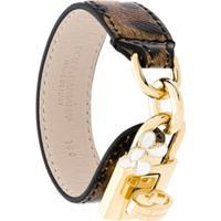 Dolce & Gabbana Bracelete De Couro Estampado - Marrom