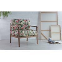 Poltrona Confortável Com Braços Canela Flocos - Verniz Capuccino Tec.1860 Floral 69X71X79 Cm