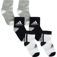 Kit De Meias Adidas Lk Ankle Com 3 Pares - 20 A 22 - Infantil - Cinza/Branco