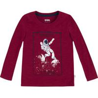 "Camiseta Flam㪠""From The Earth""- Vermelho Escuro & Brancpuc"