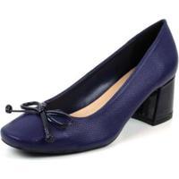 Scarpin Boneca Emporionaka Feminino Laço Salto Baixo Macio - Feminino-Azul