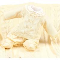 Saída De Maternidade Beth Bebê Alícia Tricô Amarelo