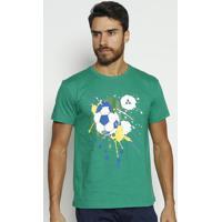 Camiseta Bola De Futebol Com Logo-Verde & Amarela-Vivip Reserva