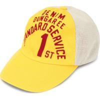Denim Dungaree Boné Com Estampa De Logo - Amarelo