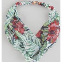Faixa De Cabelo Estampada Floral Off White - Único
