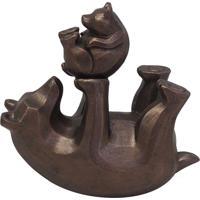 Urso E Filhote Decorativo Em Resina - Marrom - Dafiti