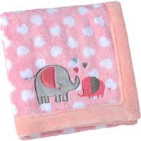 Manta Para Bebê Lepper Bordada E Estampada Mini Elefante Rosa