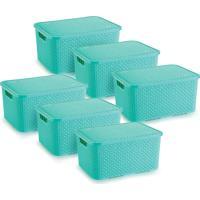 6 Caixas Organizadoras Rattan Grande Cor Verde 28X38,5X19 Cm - Tricae
