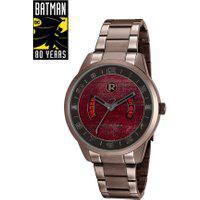 Kit De Relógio Analógico Mondaine Batman - Morte Em Família Masculino + Placa Metálica - 32133Gpmgme1 Marrom