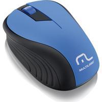 Mouse Sem Fio 2.4Ghz Preto E Azul Usb Multilaser Mo215