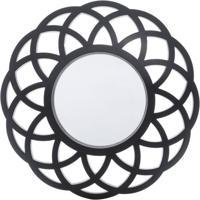 Espelho Decorativo Mandala Preto 40X40X3 Cm