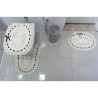 Jogo De Banheiro 03 Peças Crochê Fitado - Preto