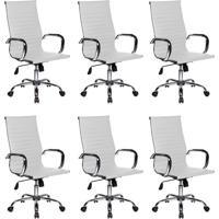 Conjunto Com 6 Cadeiras De Escritório Best Presidente Branco