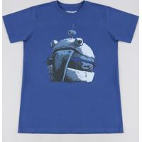 Camiseta Juvenil Burger Fortnite Manga Curta Azul Royal