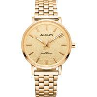 Relógio Akium Feminino Aço Dourado - Pjl1657C