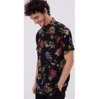 Camisa Manga Curta Estampa Floral Vintage Em Viscose