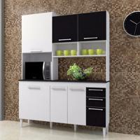 Cozinha Compacta Lotus 7 Pt E 2 Gv Branco E Preto