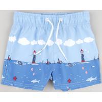 Bermuda Surf Infantil Estampada Marítima Azul