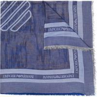 Emporio Armani Echarpe Com Logo E Barra Desfiada - Azul