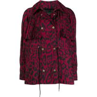 Just Cavalli Leopard Print Pleat Jacket - Vermelho