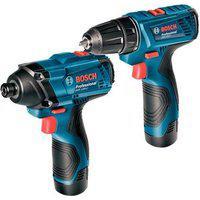 Combo Bosch 12 V - Chave De Impacto Gdr 120-Li + Parafusadeira Gsr 120-Li, 2 Baterias, Carregador Bivolt - 06019G80E3-000