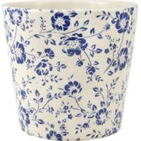 Cachepot Em Ceramica Branco E Azul