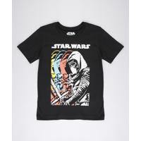 Camiseta Infantil Kylo Ren Star Wars Manga Curta Preta