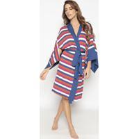 Kimono Listrado Com Amarraã§Ã£O- Azul Marinho & Laranja