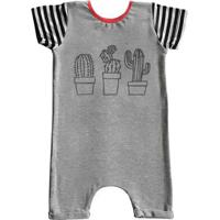 Macacão Infantil Curto Comfy Cactus - Unissex-Cinza