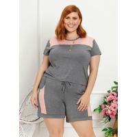Blusa Plus Size Rose E Cinza Com Recorte