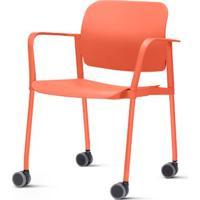 Cadeira Leaf Com Bracos Base Rodizio Laranja - 54260 - Sun House