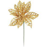 Flor Decoraçáo Natal Poinsetia Glitter Dourado